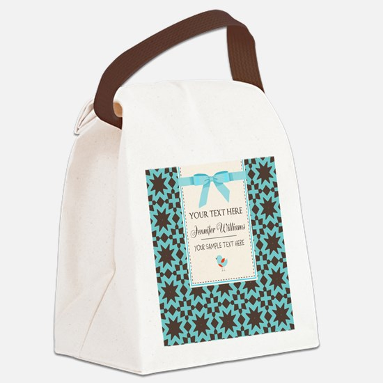 Brown and Blue Ribbon Personalize Canvas Lunch Bag