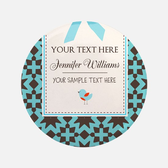Brown and Blue Ribbon Personalized Button