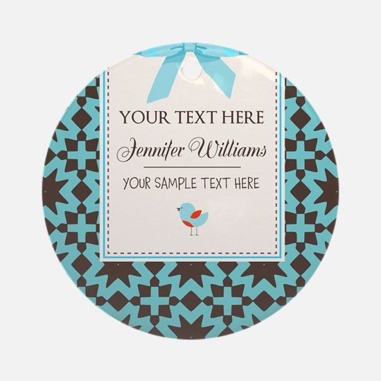 Brown and Blue Ribbon Personalize Ornament (Round)