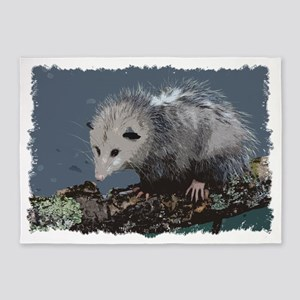 Opossum on a Gnarley Branch 5'x7'Area Rug