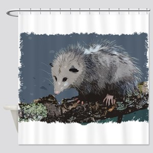 Opossum on a Gnarley Branch Shower Curtain