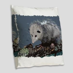 Opossum on a Gnarley Branch Burlap Throw Pillow
