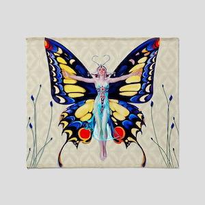 Art Deco Leyendecker Lady B'fly Throw Blanket