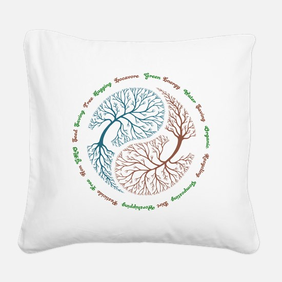 Yin Yang Tree Square Canvas Pillow