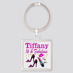 16 AND FABULOUS Square Keychain