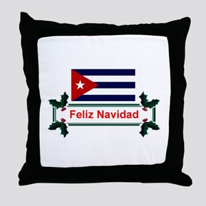 Cuban Feliz Navidad Throw Pillow