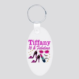 16 AND FABULOUS Aluminum Oval Keychain