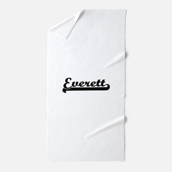Everett surname classic retro design Beach Towel