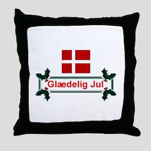 Denmark Glaedelig Jul Throw Pillow