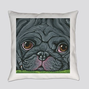 Black Pug Everyday Pillow