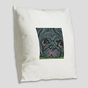 Black Pug Burlap Throw Pillow