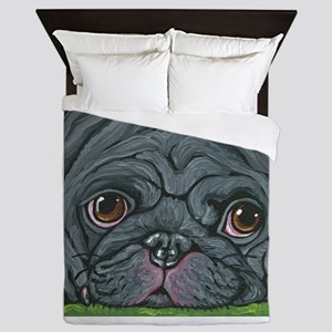Black Pug Queen Duvet
