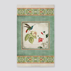 Chinoiserie Hummingbird n Exotic Floral V Area Rug