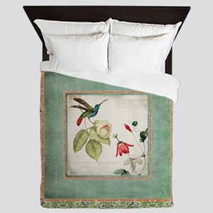 Chinoiserie Hummingbird n Exotic Flora Queen Duvet