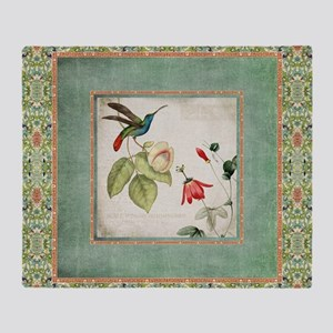 Chinoiserie Hummingbird n Exotic Flo Throw Blanket