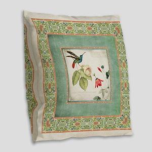 Chinoiserie Hummingbird n Exot Burlap Throw Pillow