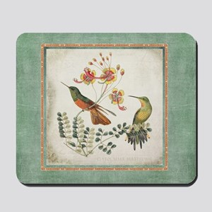 Chinoiserie Hummingbird n Exotic Floral Mousepad