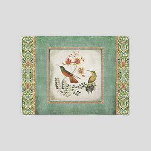 Chinoiserie Hummingbird N Exotic Fl 5 X7 Area Rug