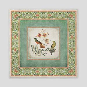Chinoiserie Hummingbird n Exotic Flora Queen Duvet