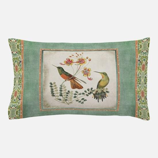 Chinoiserie Hummingbird n Exotic Flora Pillow Case