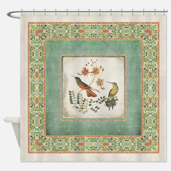 Chinoiserie Hummingbird n Exotic Fl Shower Curtain