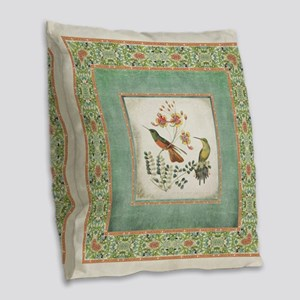 Chinoiserie Hummingbird n Exot Burlap Throw Pillow