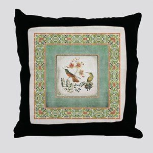 Chinoiserie Hummingbird n Exotic Flor Throw Pillow