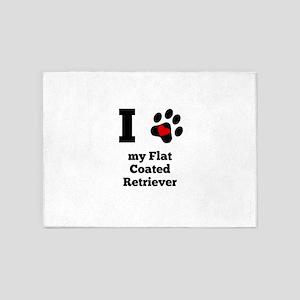 I Heart My Flat-Coated Retriever 5'x7'Area Rug