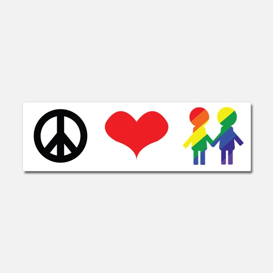 Peace Love and Tolerance Car Magnet 10 x 3
