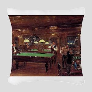 billiards art Woven Throw Pillow