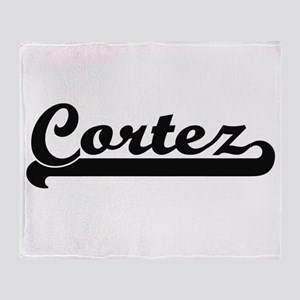 Cortez surname classic retro design Throw Blanket