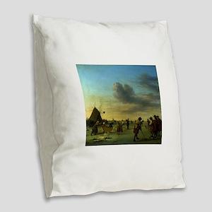 golfing art Burlap Throw Pillow
