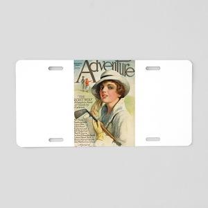 golfing art Aluminum License Plate