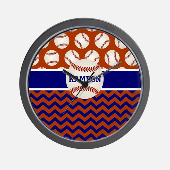 Baseball Blue Red Personalized Wall Clock
