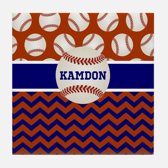 Baseball Blue Red Personalized Tile Coaster