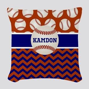 Baseball Blue Red Personalized Woven Throw Pillow