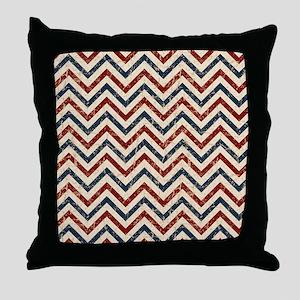 Vintage Patriotic Chevron Throw Pillow