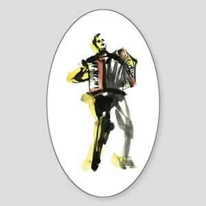 Accordion player Sticker (Oval)