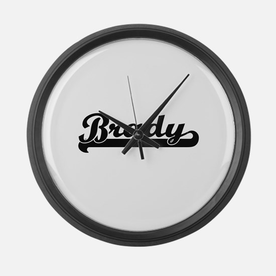 Brady surname classic retro desig Large Wall Clock