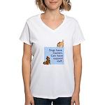 Cats vs. Dogs Women's V-Neck T-Shirt