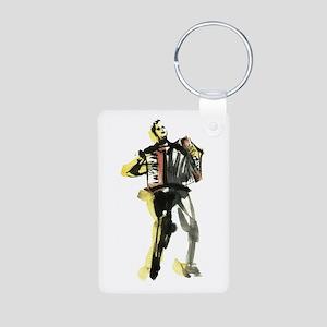 Accordion player Aluminum Photo Keychain