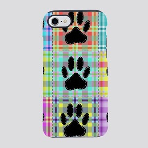 Dog Paw Pattern Quilt Print iPhone 8/7 Tough Case