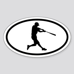 Baseball Hitter Oval Sticker