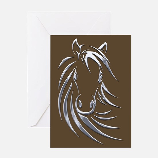 Silver Horse Head Greeting Cards