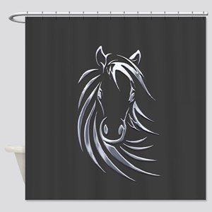Silver Horse Shower Curtain