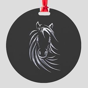 Silver Horse Round Ornament