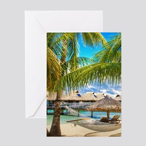 Bungalow And Hammock On Exotic Beach Greeting Card
