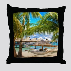 Bungalow And Hammock On Exotic Beach Throw Pillow