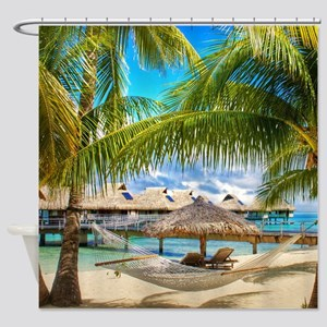 Bungalow And Hammock On Exotic Beach Shower Curtai