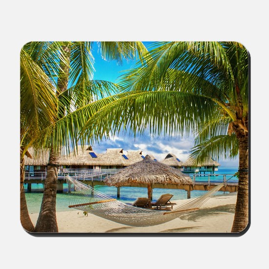 Bungalow And Hammock On Exotic Beach Mousepad